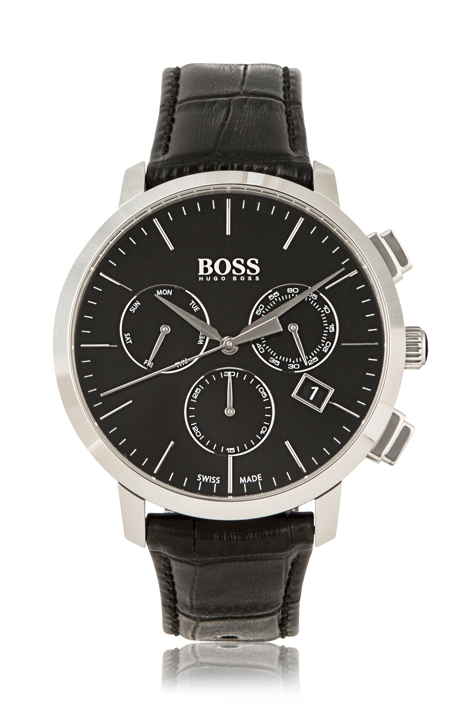 Italian Leather Swiss Quartz Chronograph Watch | 1513263