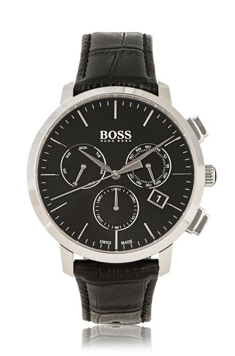 bafcc7a0473 BOSS - Italian Leather Swiss Quartz Chronograph Watch