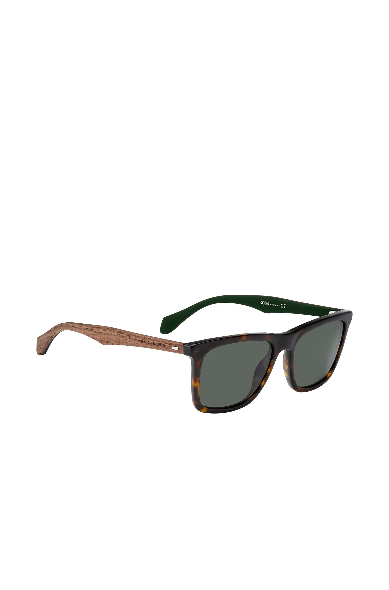 Gray Green Lens Walnut Sunglasses | BOSS 0776S
