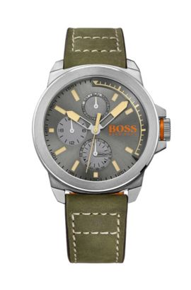 '1513318' | Leather Strap Chronograph 3-Hand Quartz Watch, Assorted-Pre-Pack
