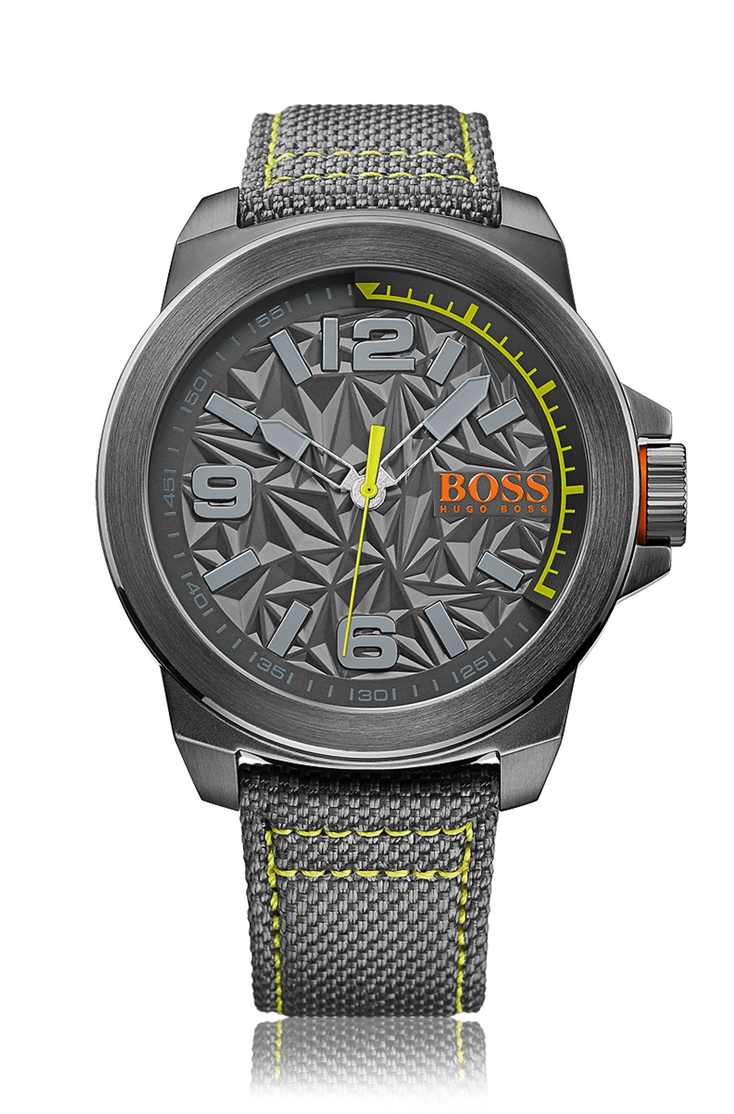 '1513344'   Chronograph Stainless Steel Textile Strap Watch