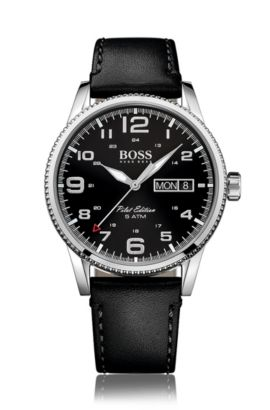 '1513330'   Stainless Steel Leather Strap Pilot Edition Watch, Assorted-Pre-Pack