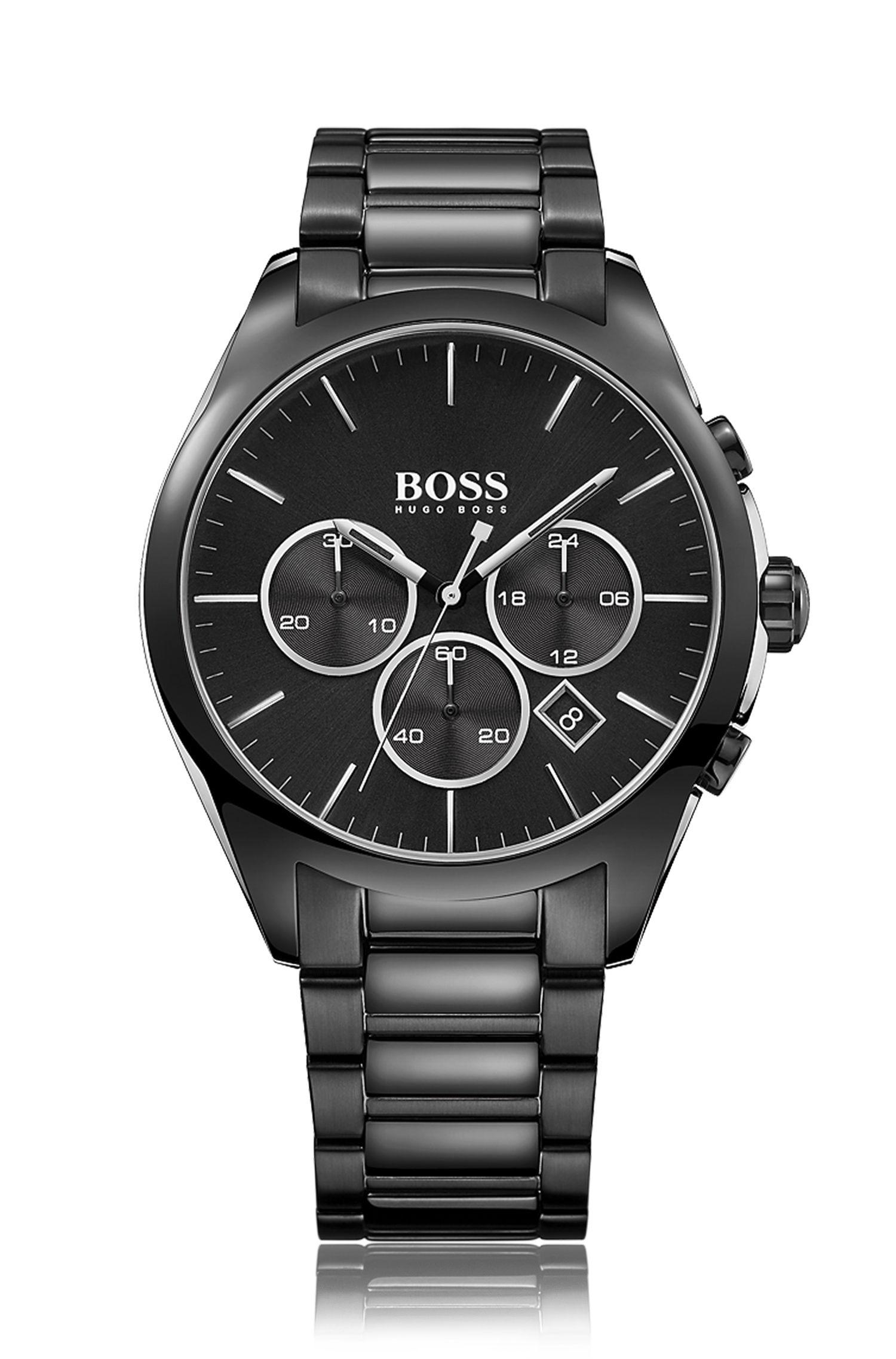 '1513365' | Chronograph Blackened Stainless Steel Quartz Watch
