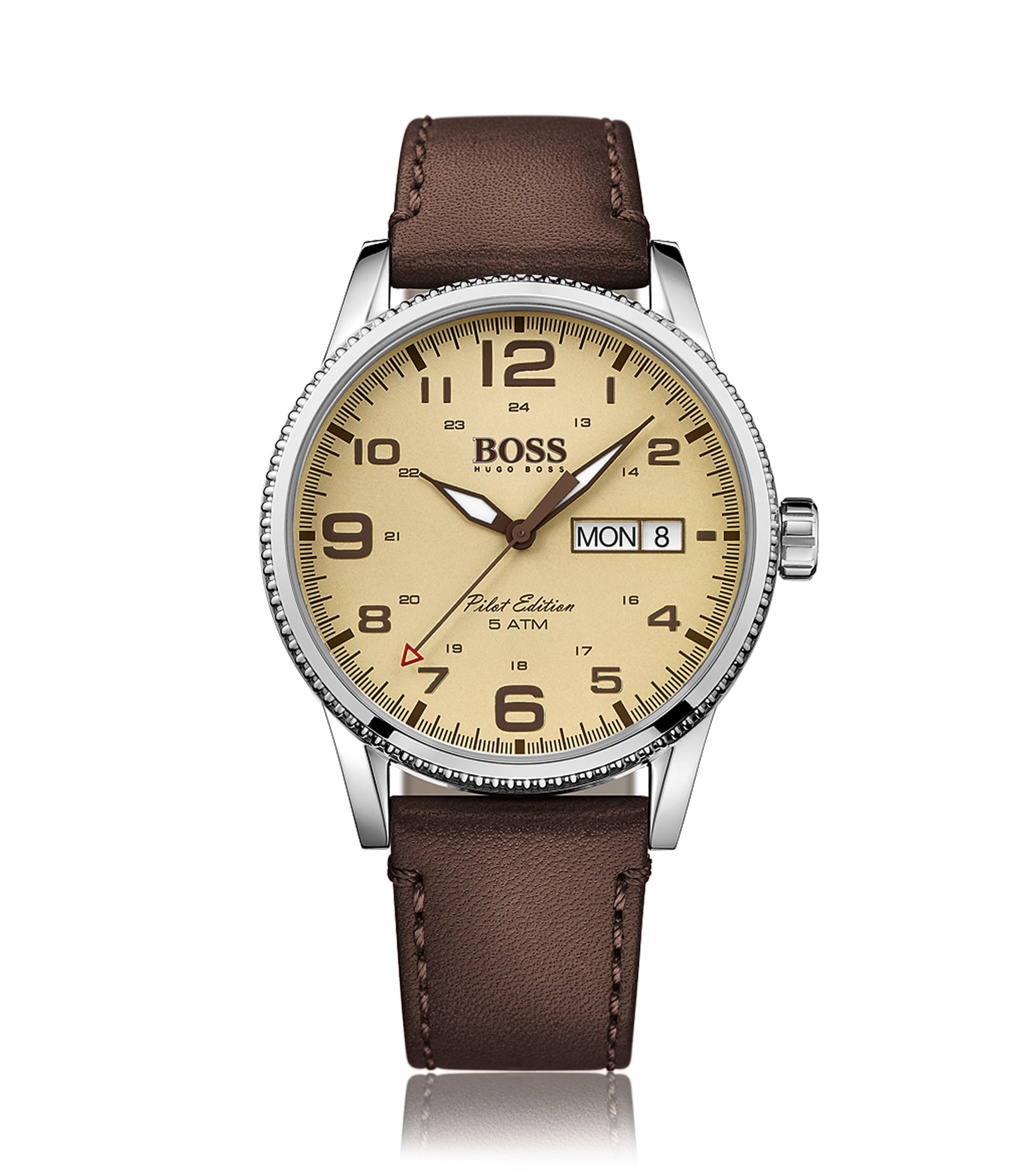 Stainless Steel Leather Watch, Pilot Edition | 1513332, Assorted-Pre-Pack