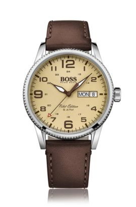 '1513332'   Stainless Steel Leather Strap Pilot Edition Watch, Assorted-Pre-Pack