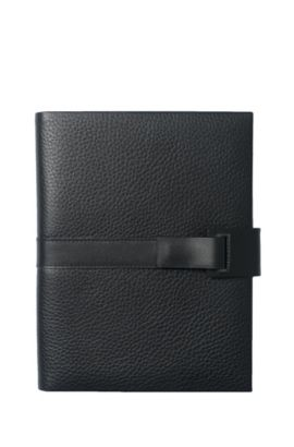 'HLM604A' | Pure Grained Leather Folder, Black