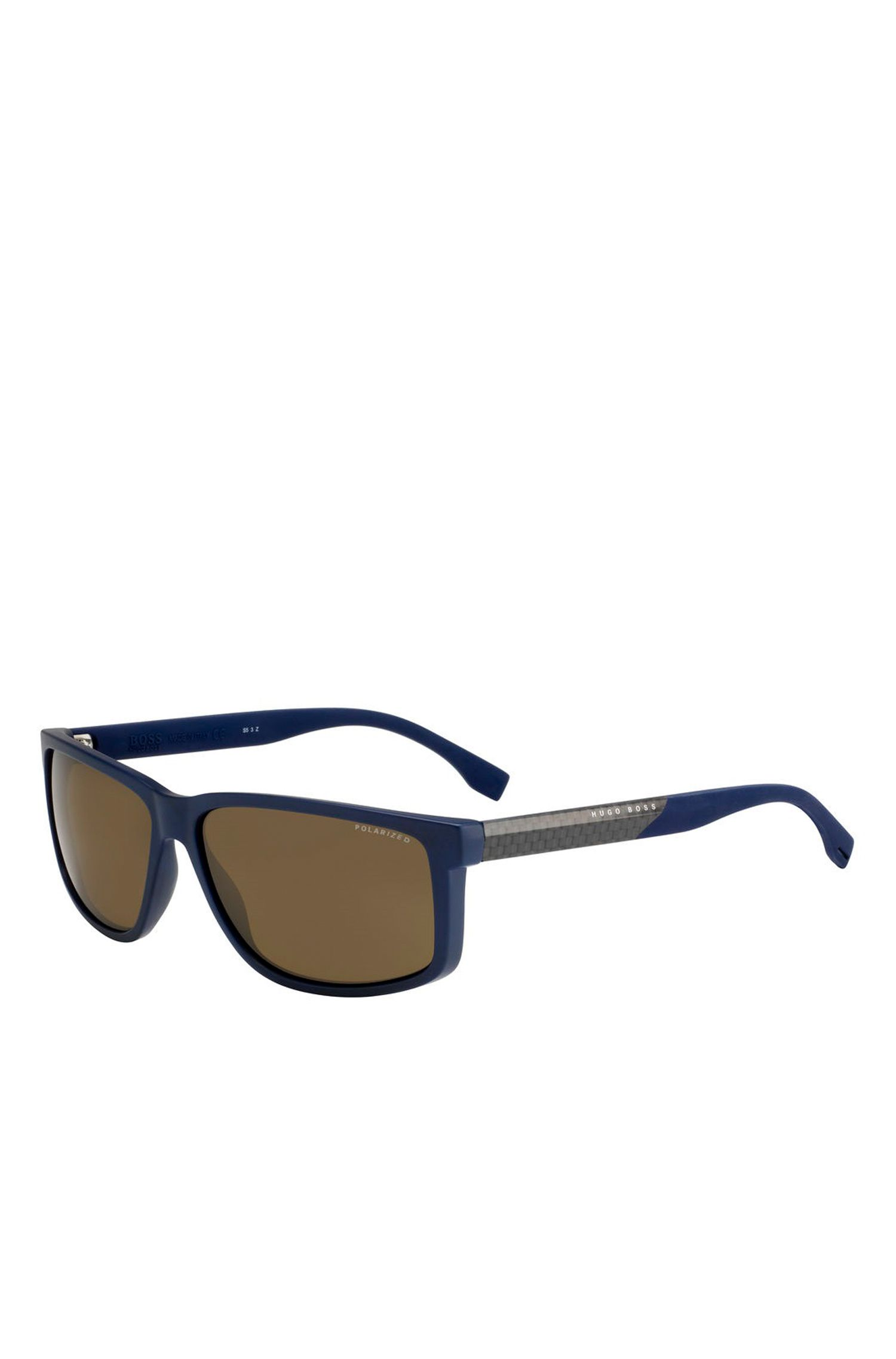 'BOSS 0833S' | Rectangular Brown Lens Carbon Fiber Sunglasses