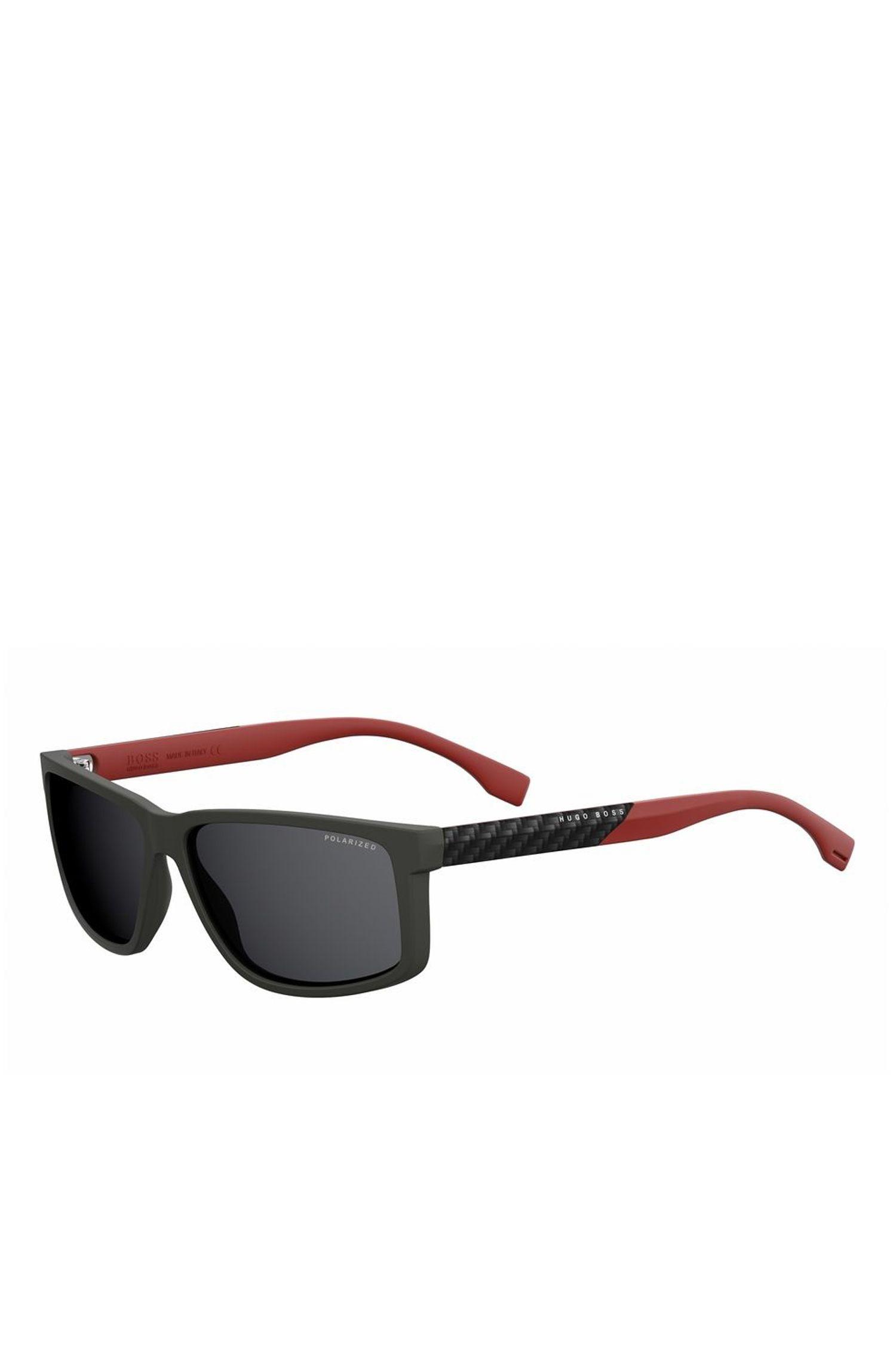 Rectangular Black Lens Carbon Fiber Sunglasses | BOSS 0833S