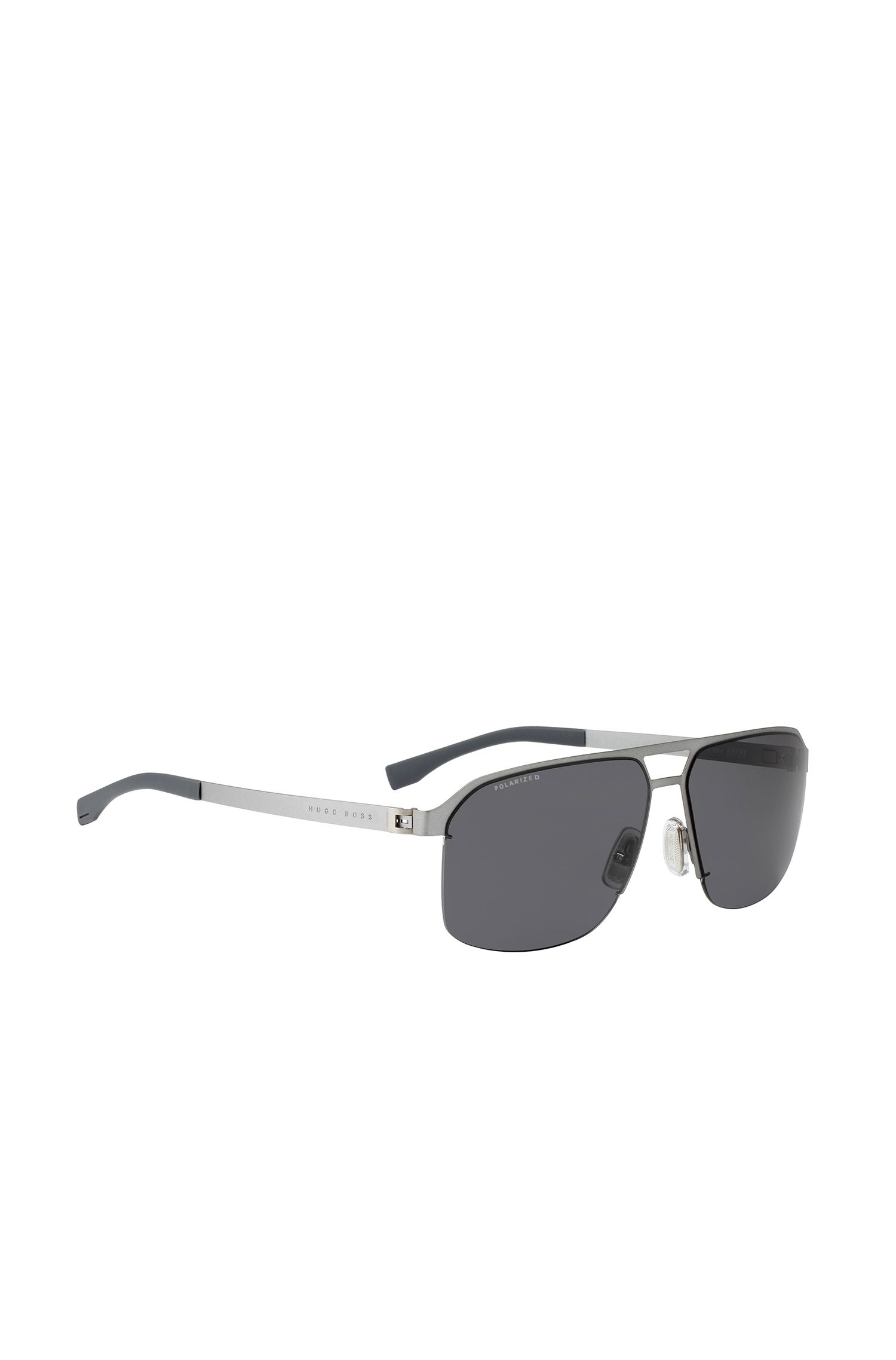 'BOSS 0839S'   Matte Ruthenium Navigator Sunglasses