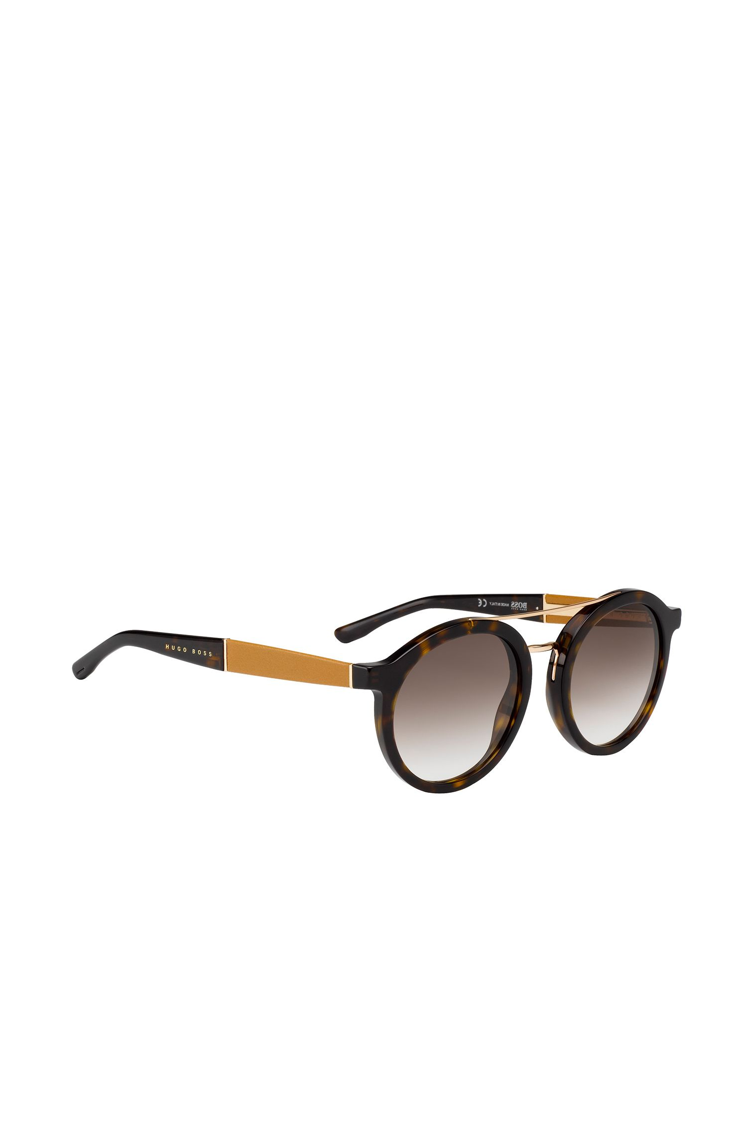 'BOSS 0853S' | Round Gradient Lens Acetate Leather Sunglasses