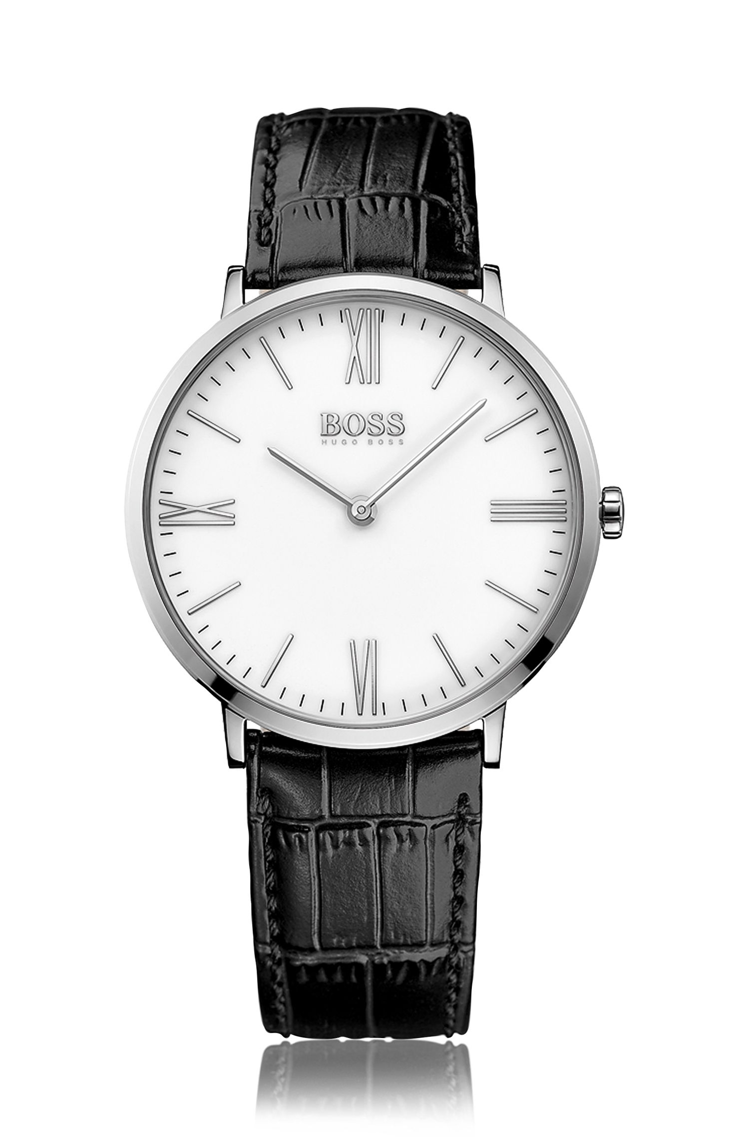 '1513370' | Leather Croc-Embossed Stainless Steel Watch