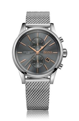 '1513440' | Chronograph Stainless Steel Mesh Strap Quartz Jet Watch, Assorted-Pre-Pack