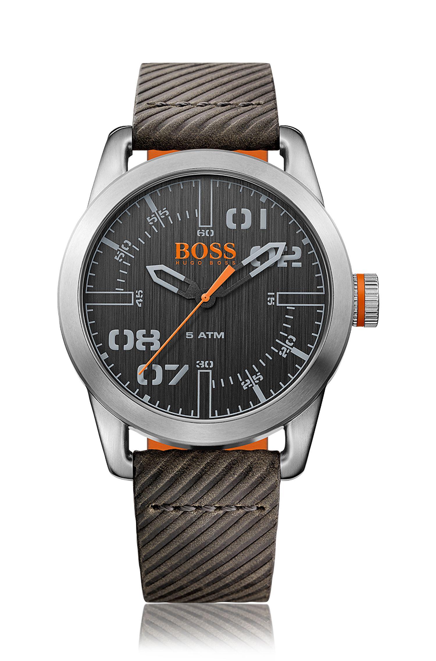 '1513417'   Ribbed Leather Strap Quartz Watch