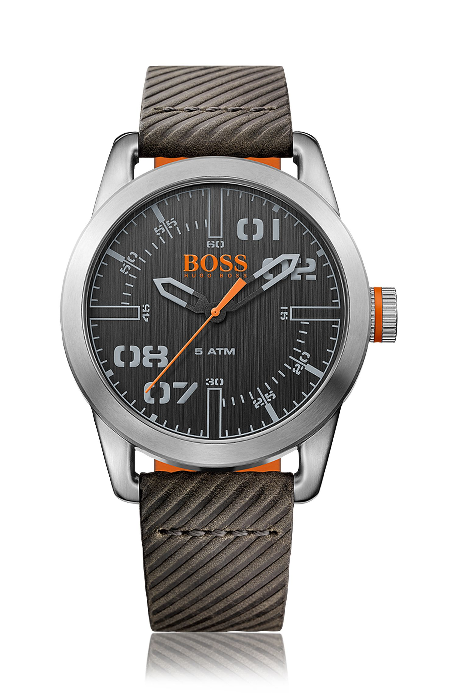 '1513417' | Ribbed Leather Strap Quartz Watch