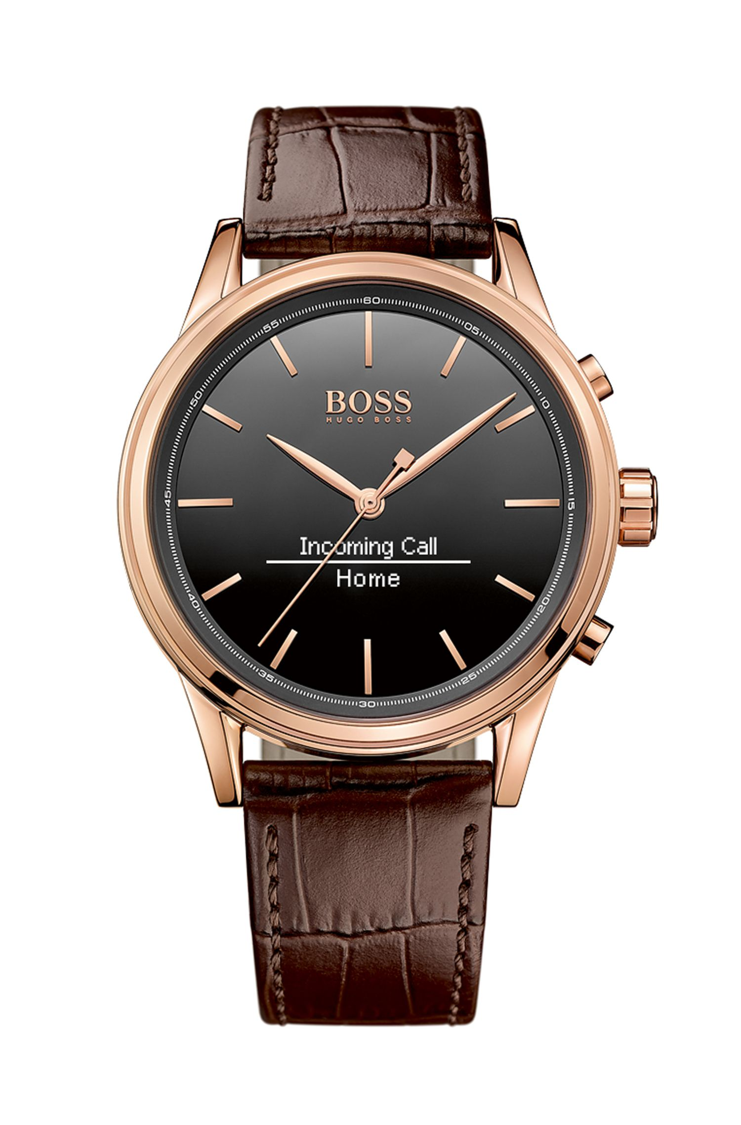 '1513451' |  Leather Croc-Embossed Rose Gold Tone Smart Watch