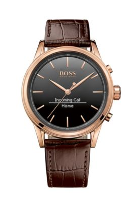 '1513451' |  Leather Croc-Embossed Rose Gold Tone Smart Watch, Assorted-Pre-Pack