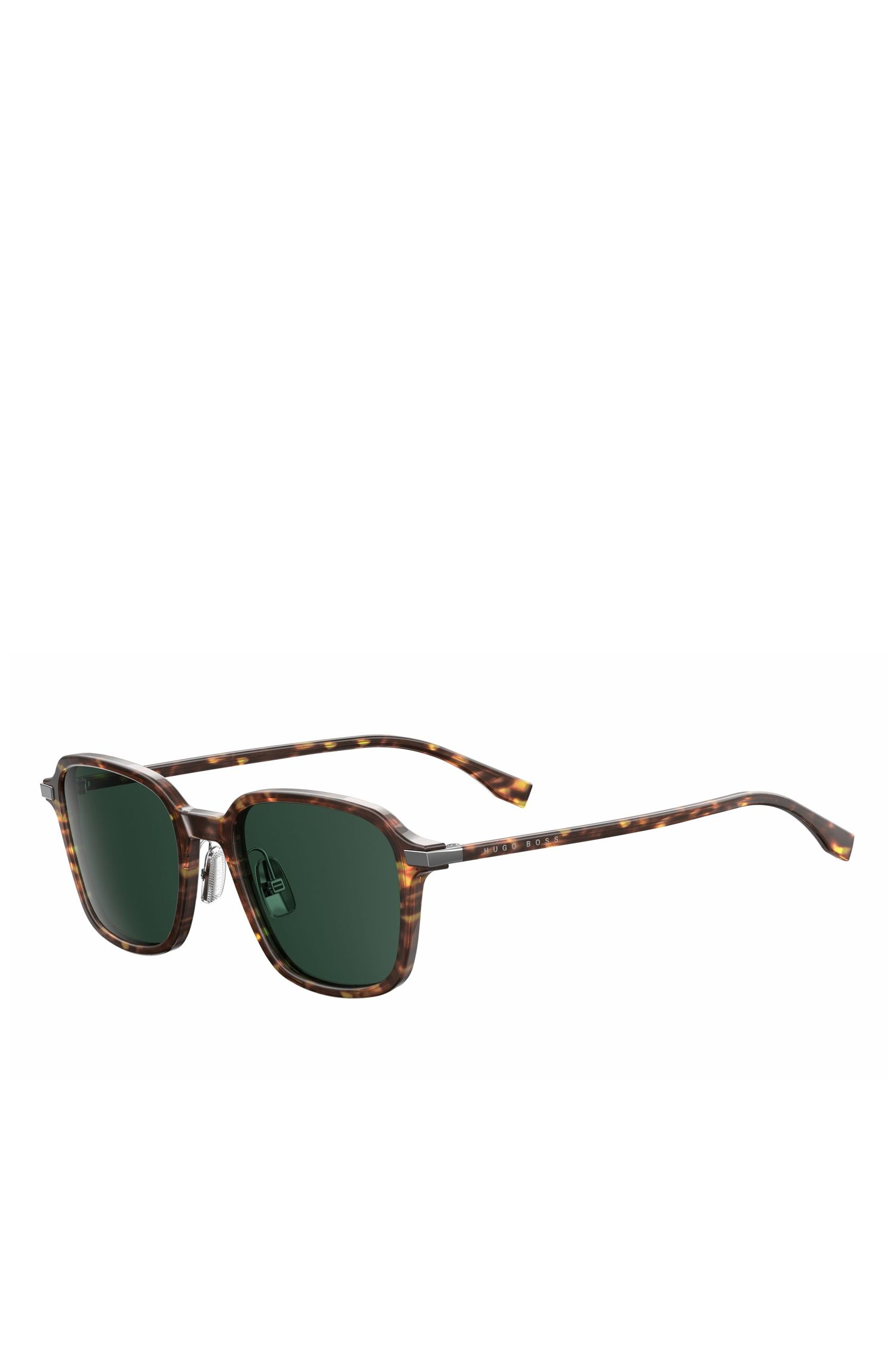 '0909S' | Green Lens Havana Square Sunglasses