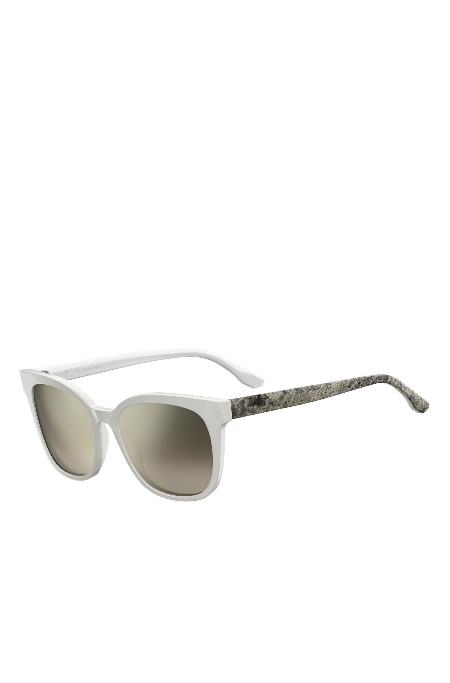 White Acetate Round Sunglasses   BOSS 0893