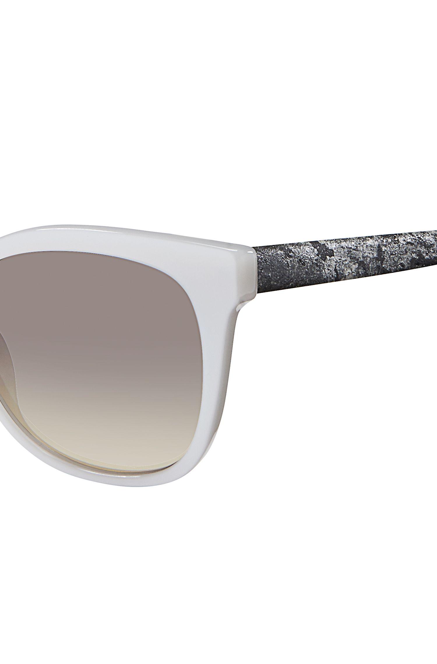 White Acetate Round Sunglasses | BOSS 0893