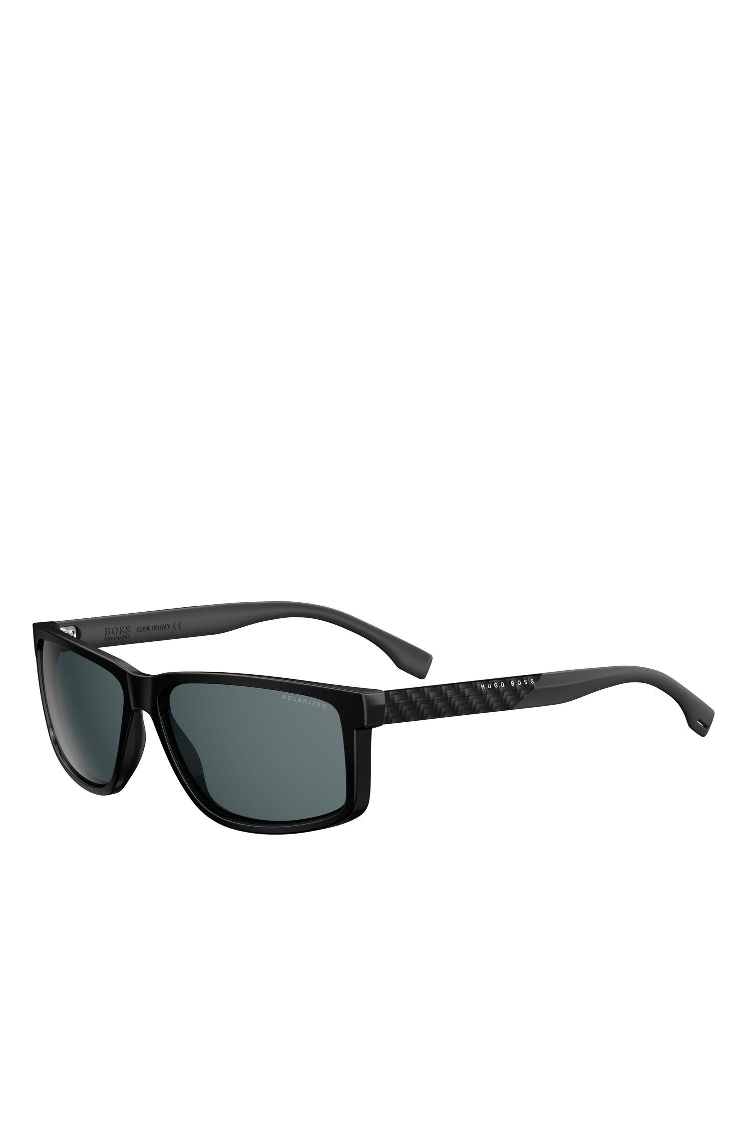 'BOSS 0879' | Dark Grey Carbon Fiber Rectangular Sunglasses