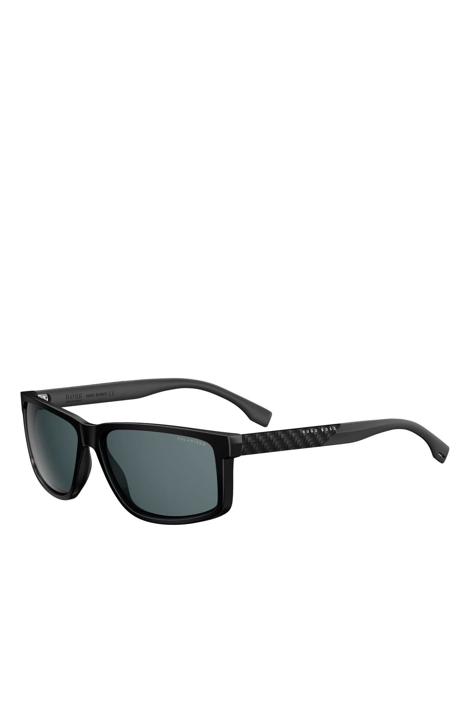 Dark Grey Carbon Fiber Rectangular Sunglasses | BOSS 0879