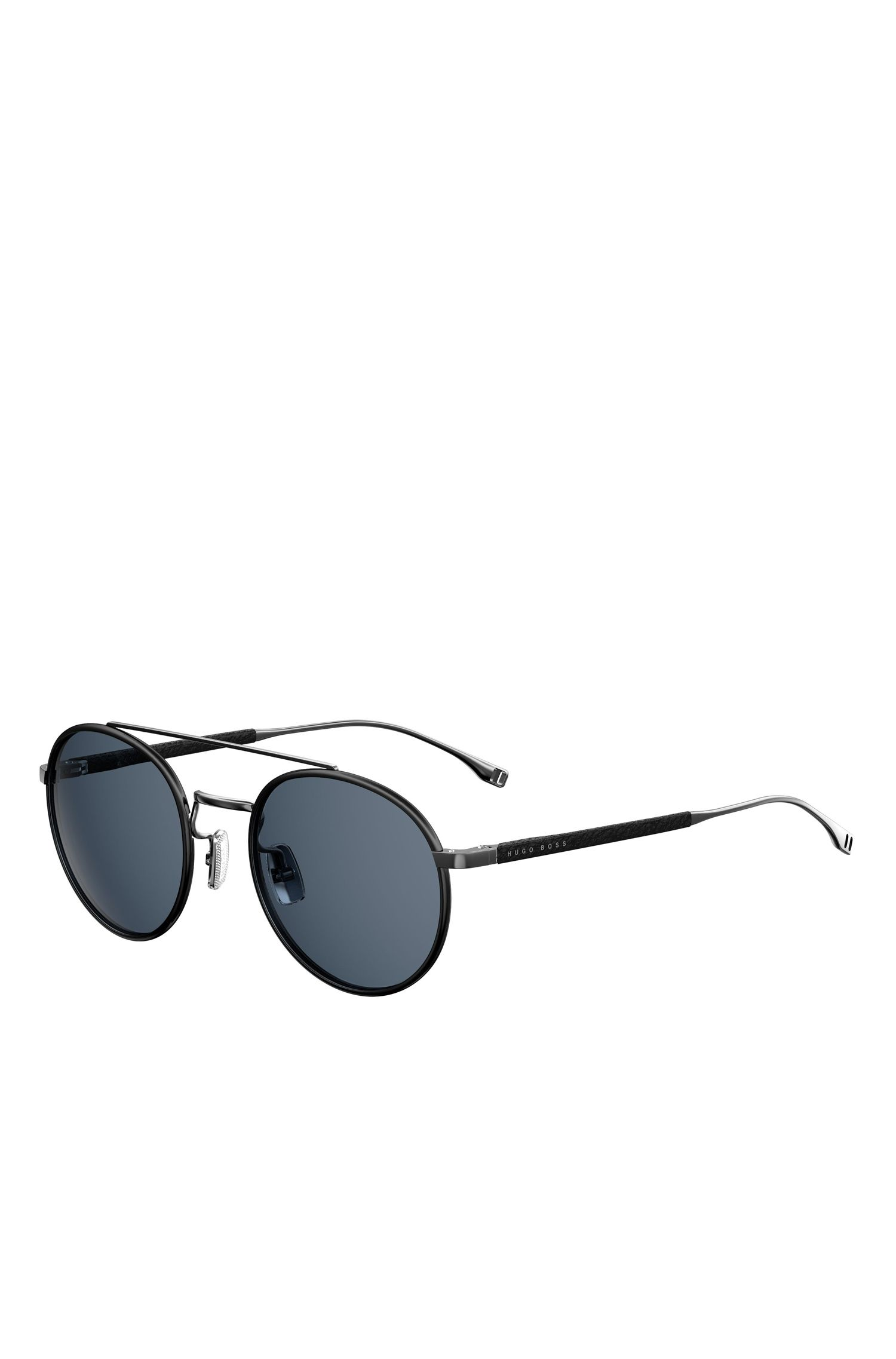 'BOSS 0886S' | Black Lens Round Leather Wrapped Sunglasses