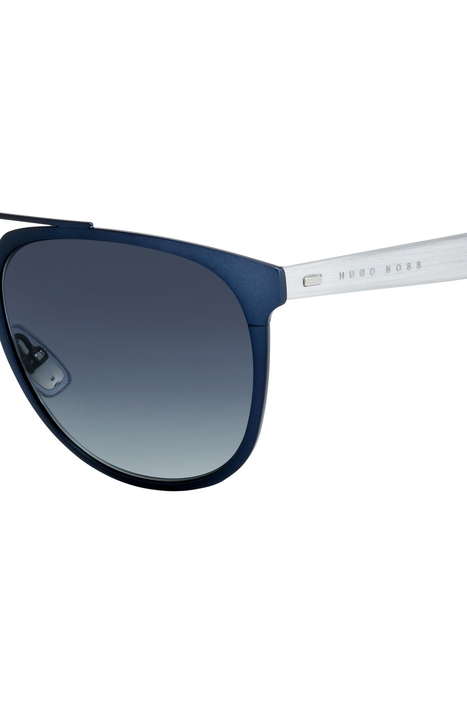 Dark Grey Gradient Round Metal Sunglasses | BOSS 0882S