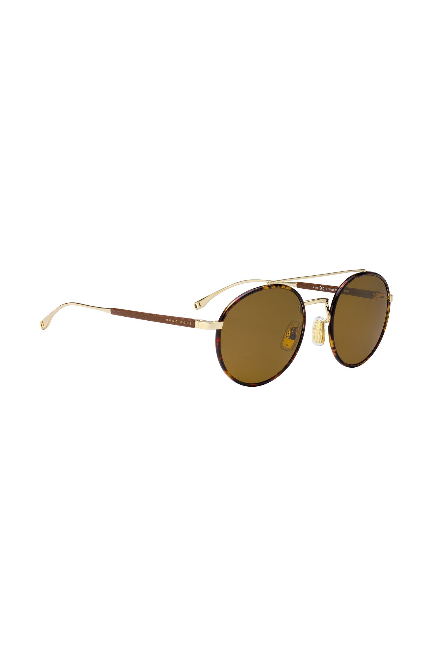 'BOSS 0886S' | Brown Lens Round Leather Wrapped Sunglasses