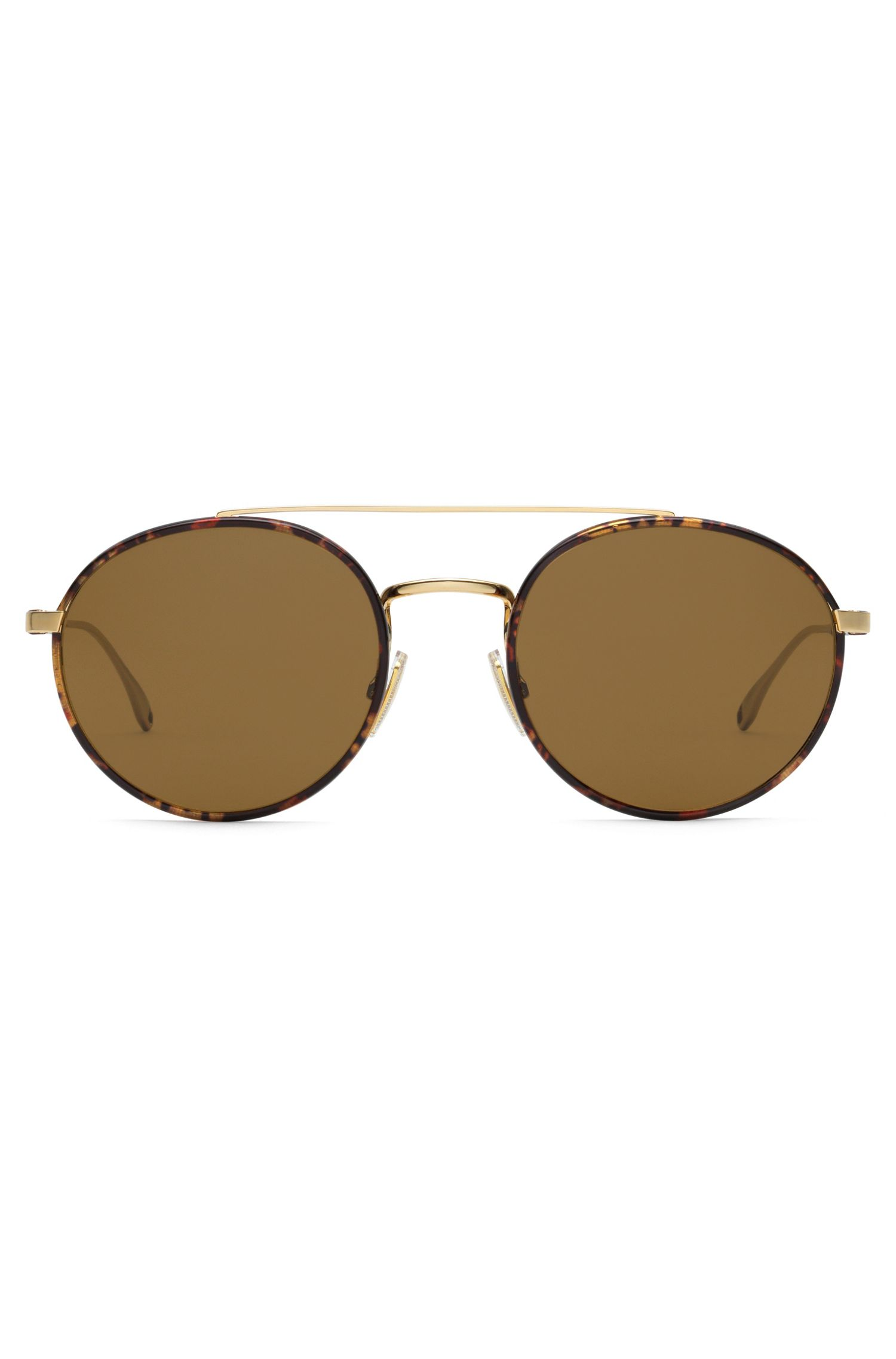 Brown Lens Round Leather Wrapped Sunglasses | BOSS 0886S