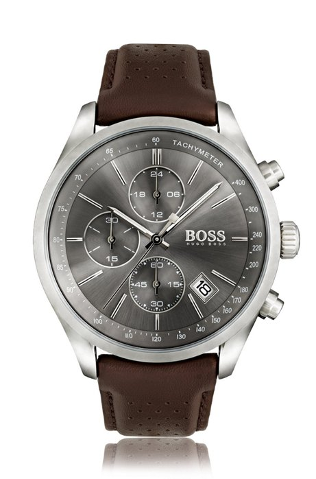 06c4cd059 Stainless-steel sportswatch with gray sunray dial and perforated leather  strap, Assorted-Pre