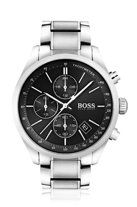 Stainless-steel watch with integrated tachymeter, Assorted-Pre-Pack