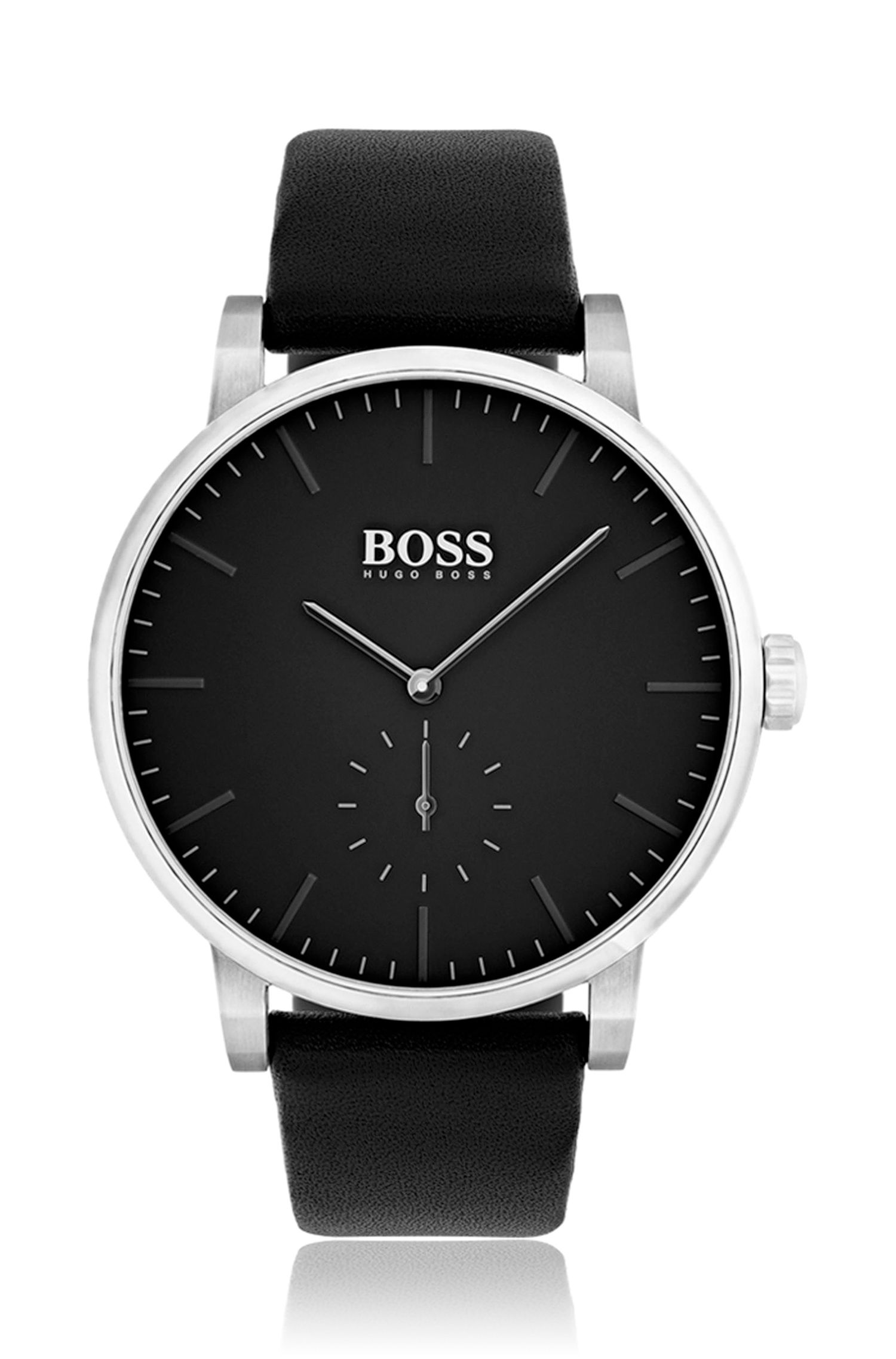 Minimalist stainless-steel watch with matt black dial and leather strap, Assorted-Pre-Pack
