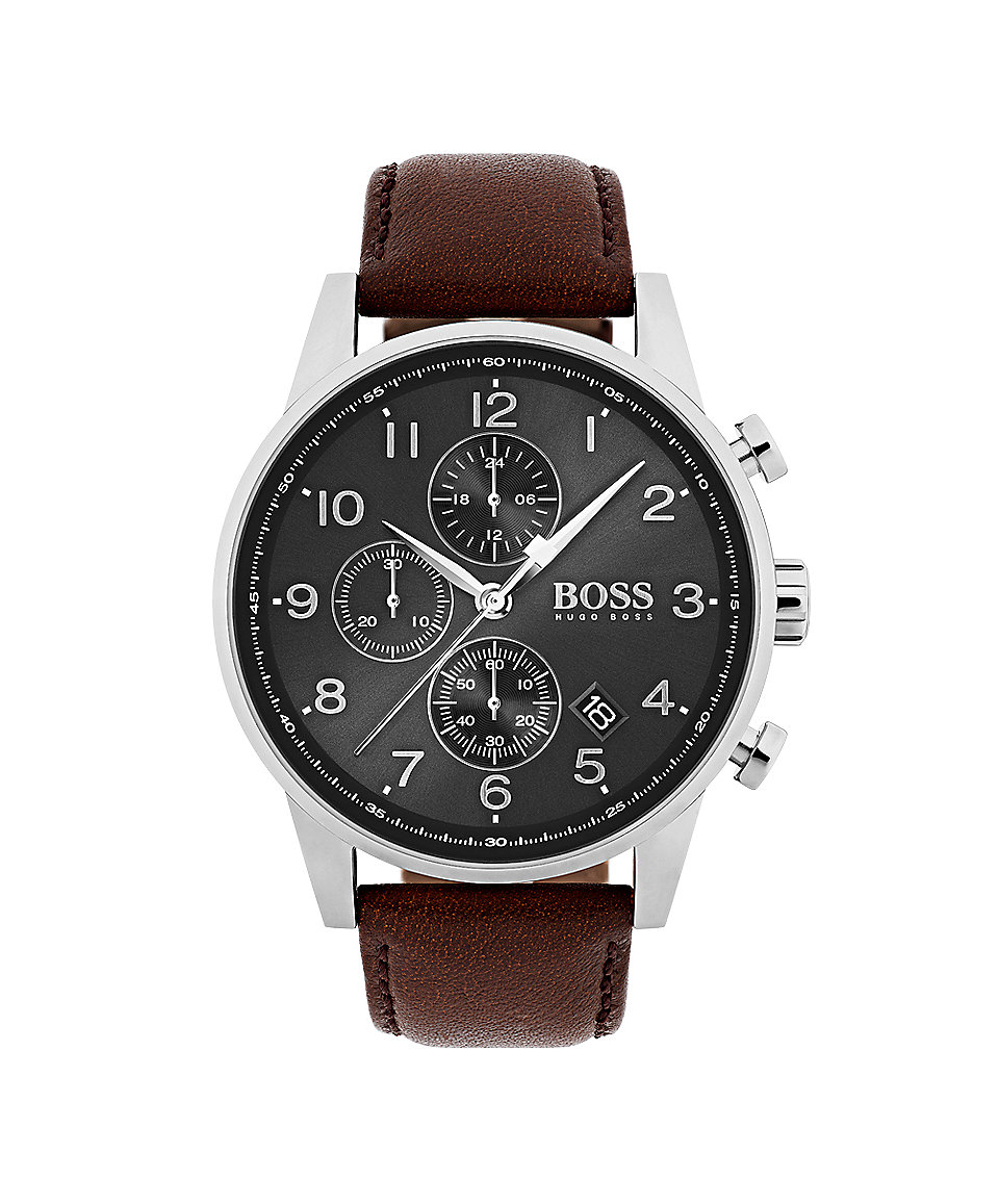 navigator classic leather chronograph watch 1513494. Black Bedroom Furniture Sets. Home Design Ideas