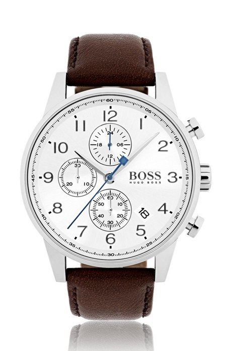 4766769a136 Polished stainless-steel watch with silver-white dial and leather strap
