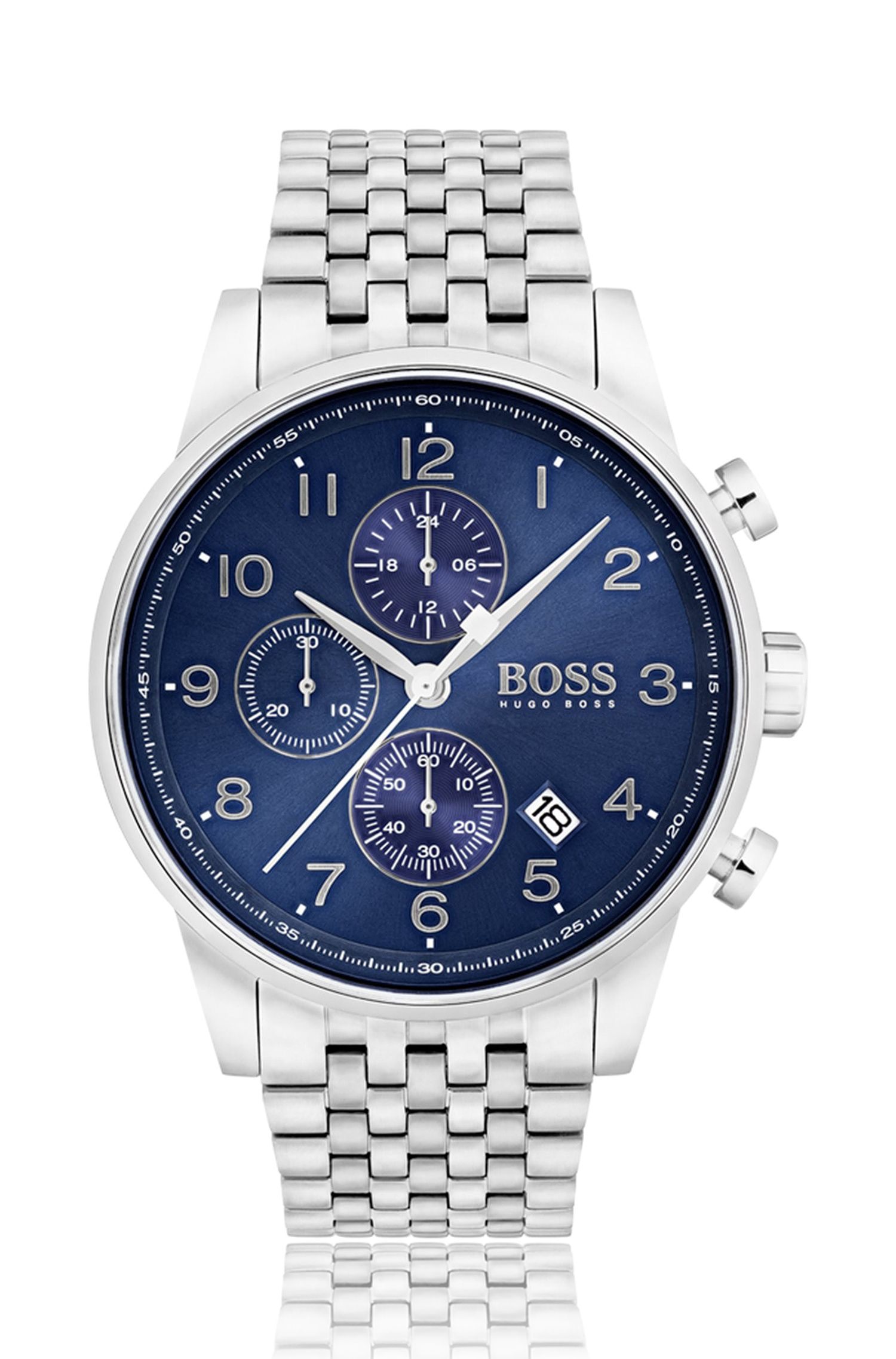 Polished stainless-steel chronograph watch with blue sunray dial, Assorted-Pre-Pack