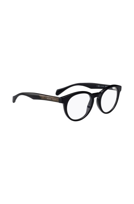 'BOSS 0913 1YS' | Black Acetate Round Optical Frames. '