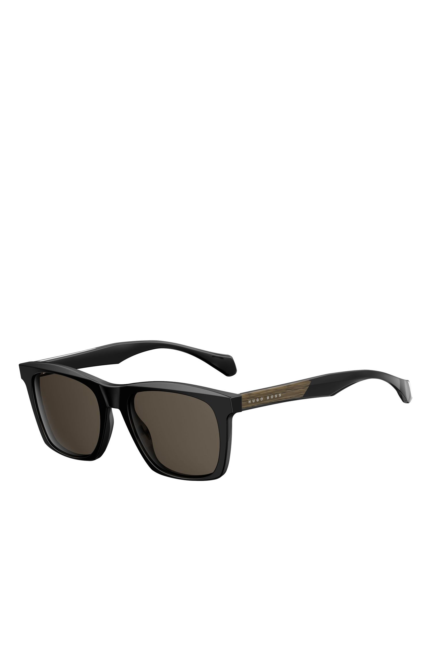 'BOSS 0911/S'   Black Acetate Rectangular Sunglasses