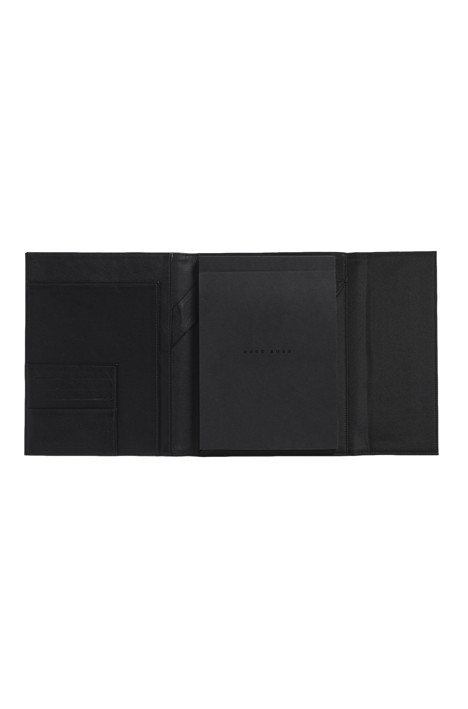 Leather A4 Portfolio with Notepad | Conference Folder A5 Caption Contrast BI, Black