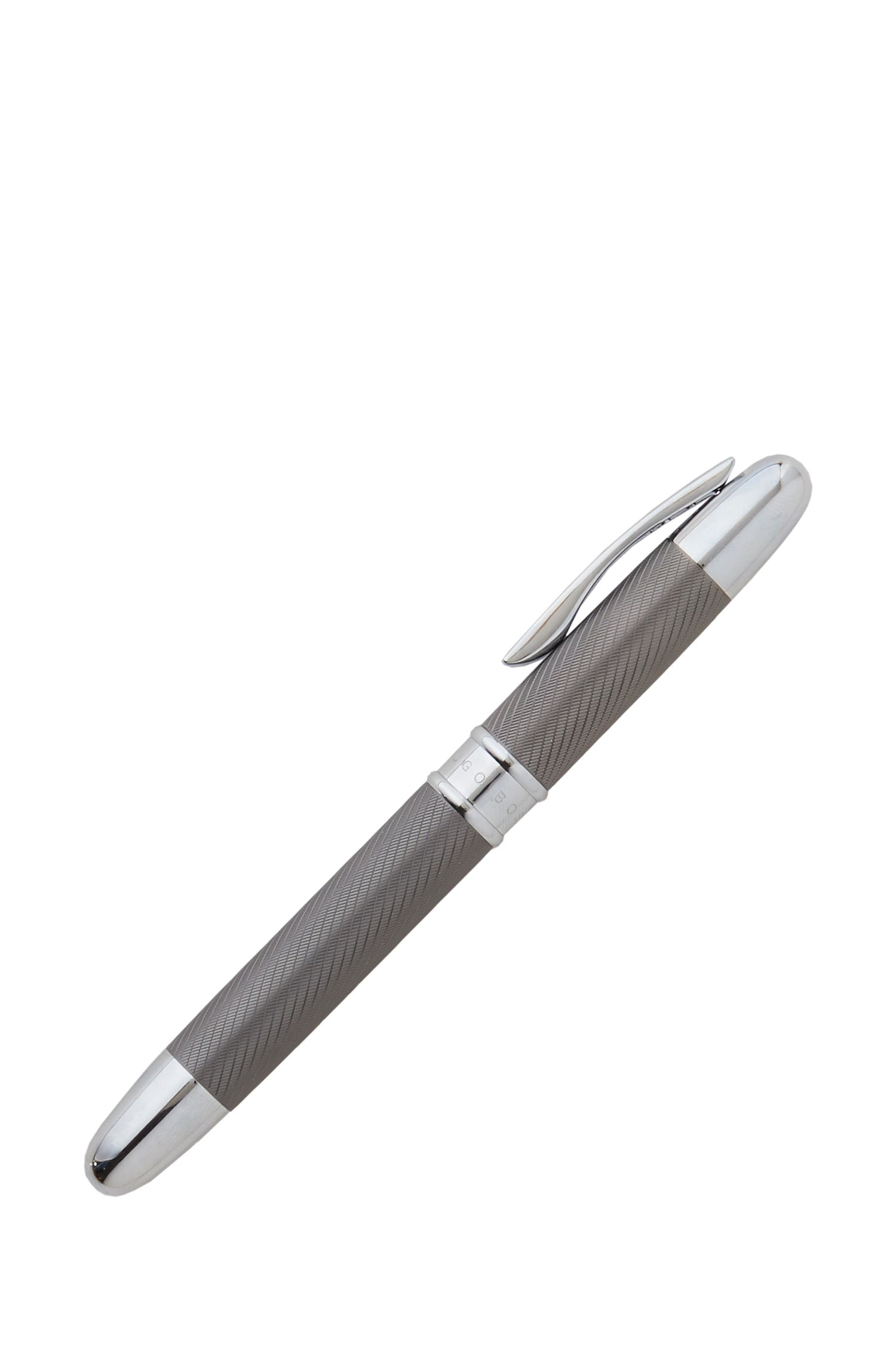 Stripe Matte Dark Chrome Rollerball Pen, Silver