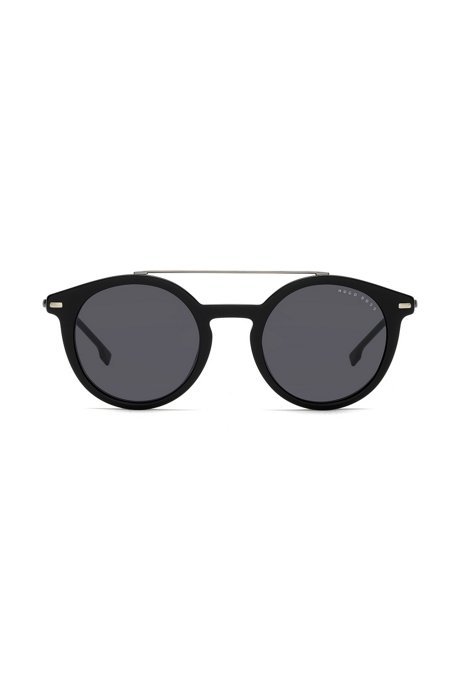 Black-frame sunglasses with metallic bridge, Assorted-Pre-Pack