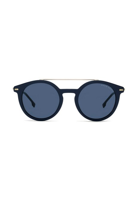 Blue-frame sunglasses with metallic bridge, Assorted-Pre-Pack