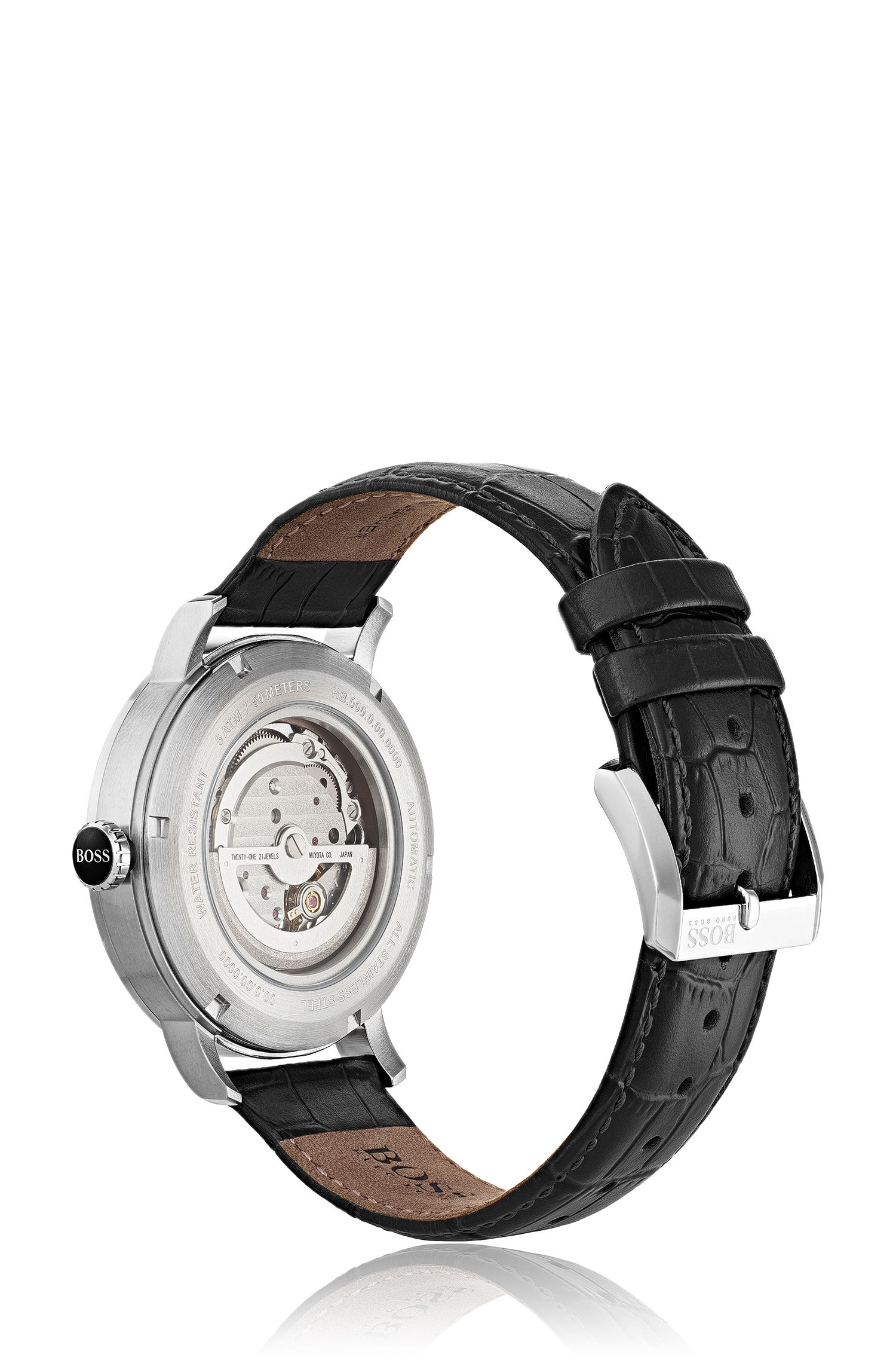 Multi-dial watch with visible mechanics and embossed strap, Assorted-Pre-Pack