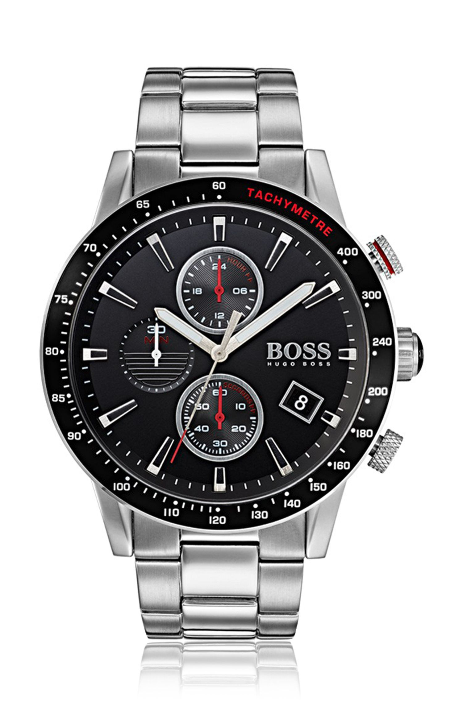 Brushed and polished stainless-steel sports watch with black dial, Assorted-Pre-Pack