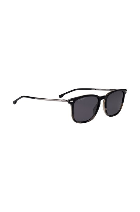 Polarized sunglasses with black-and-gray-horn acetate frames, Assorted-Pre-Pack