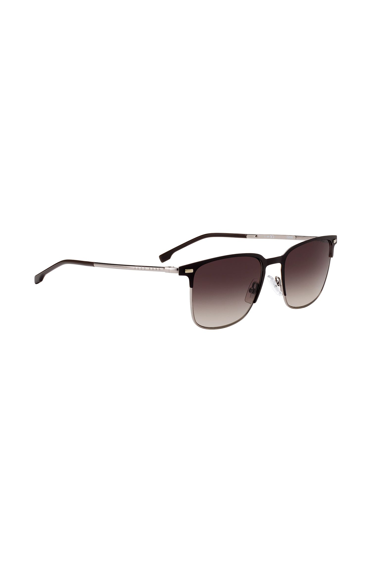 Matte-brown half-frame sunglasses with shaded lenses, Assorted-Pre-Pack
