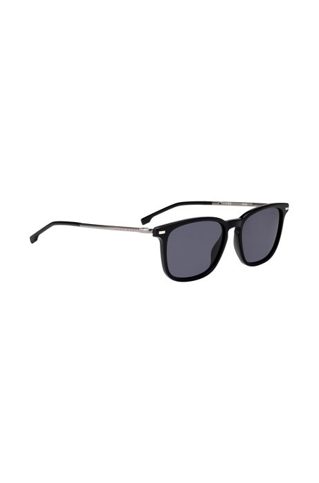 Black acetate sunglasses with integrated flex hinges, Assorted-Pre-Pack
