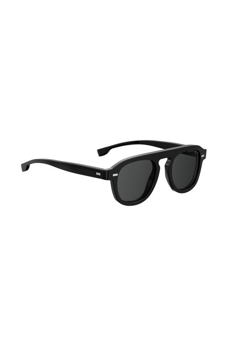 f3920e86f7 BOSS - Vintage-inspired sunglasses with black acetate frames