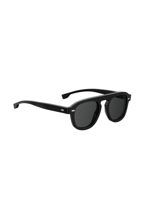 BOSS - Vintage-inspired sunglasses with black acetate frames