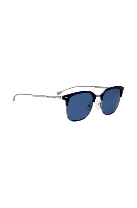 d90d33b9c0f8 BOSS - Lightweight titanium sunglasses with blue Havana frames