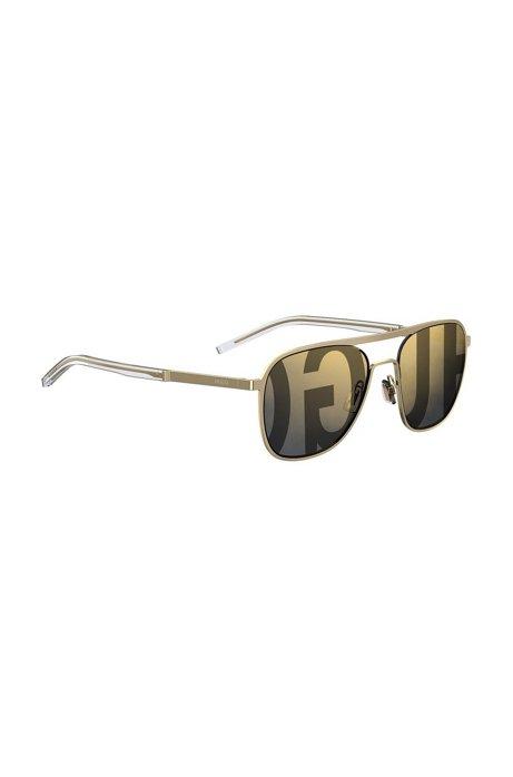 eedca6c0784 HUGO - Gold-tone aviator sunglasses with logo lenses